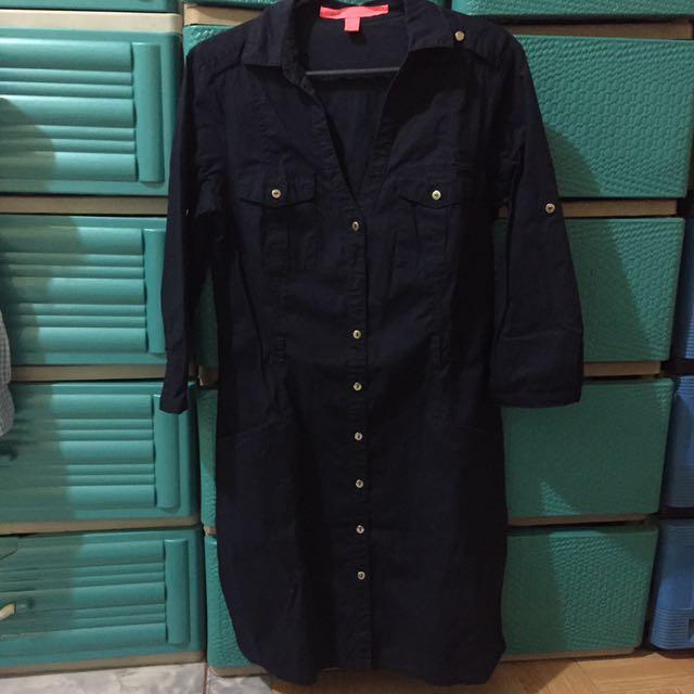 Auth Mango Dress XS Navy Blue