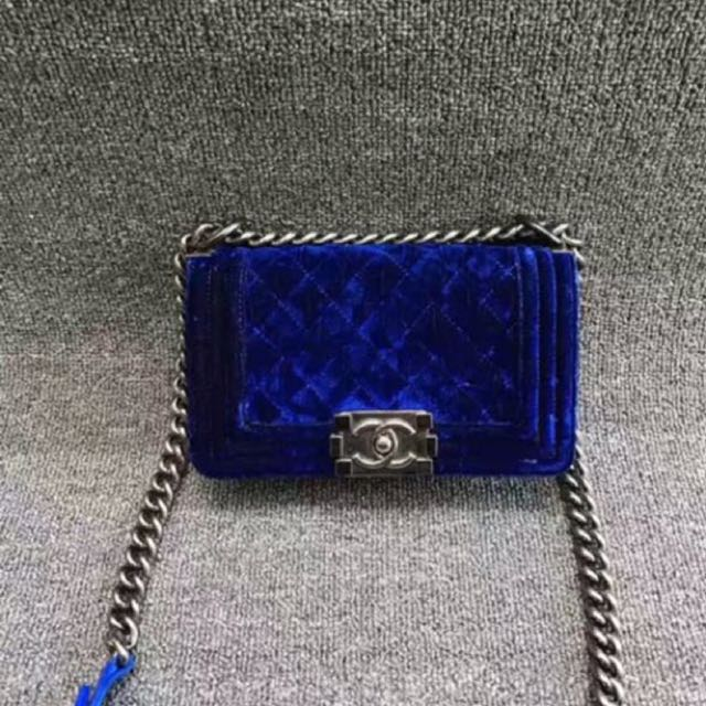 Authentic Chanel le boy in blue velvet