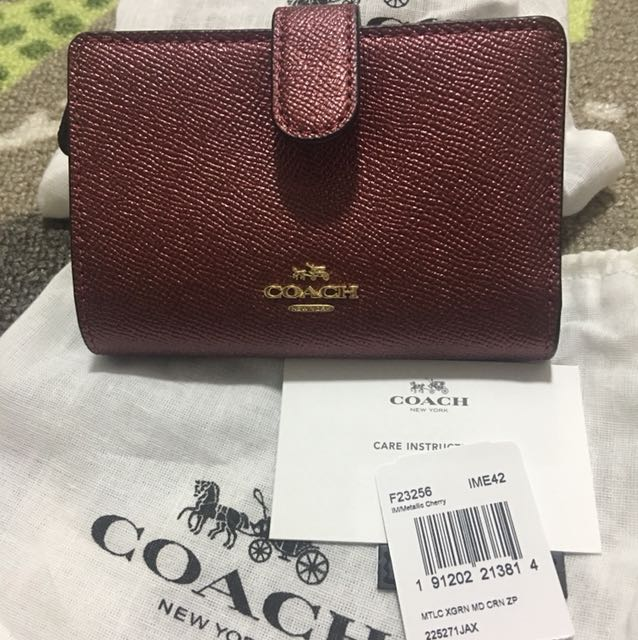 86196a77d3 ... coupon code for authentic new coach medium corner zip wallet coach  f23256 metallic cherry luxury bags