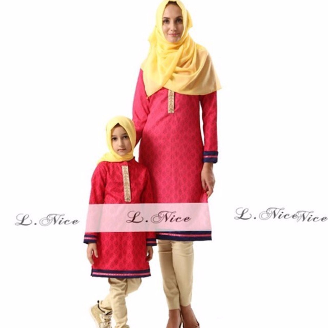(B01289LNI3) 3in1 L-Nice gamis merah (sudah termasuk gamis, celana dan pashmina) size kecil