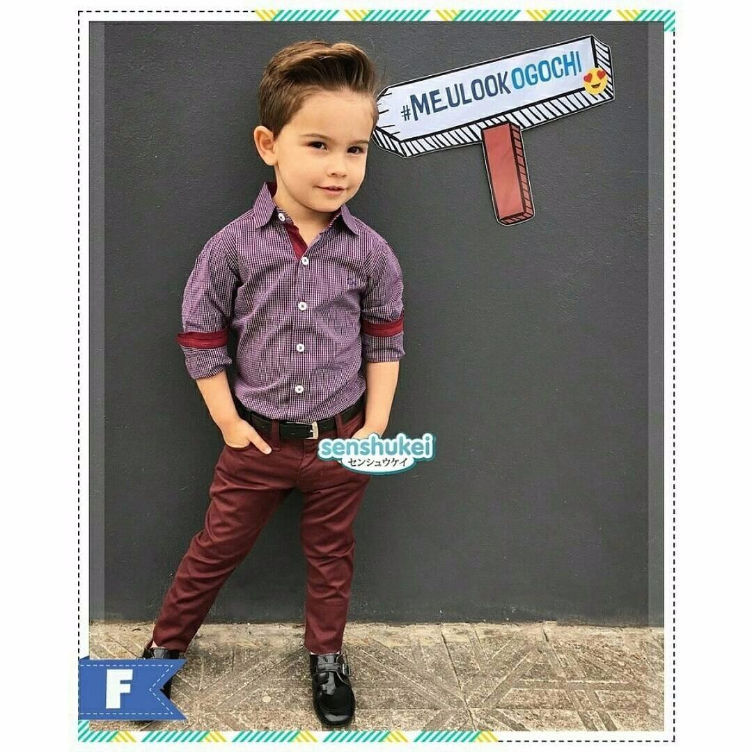 (b01436SEN3) 3in1 kemeja kotak kotak kecil maroon, celana maroon+ikat pinggang hitam size kecil(SENSHUKEI)