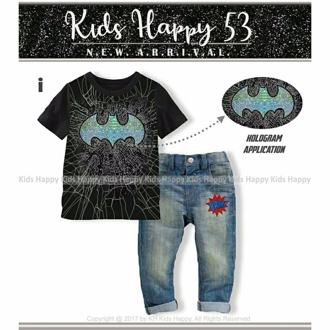 (b01439kid2) 2in1 setelan baju batman hologram hitam & celana levis BAM (KIDS HAPPY)