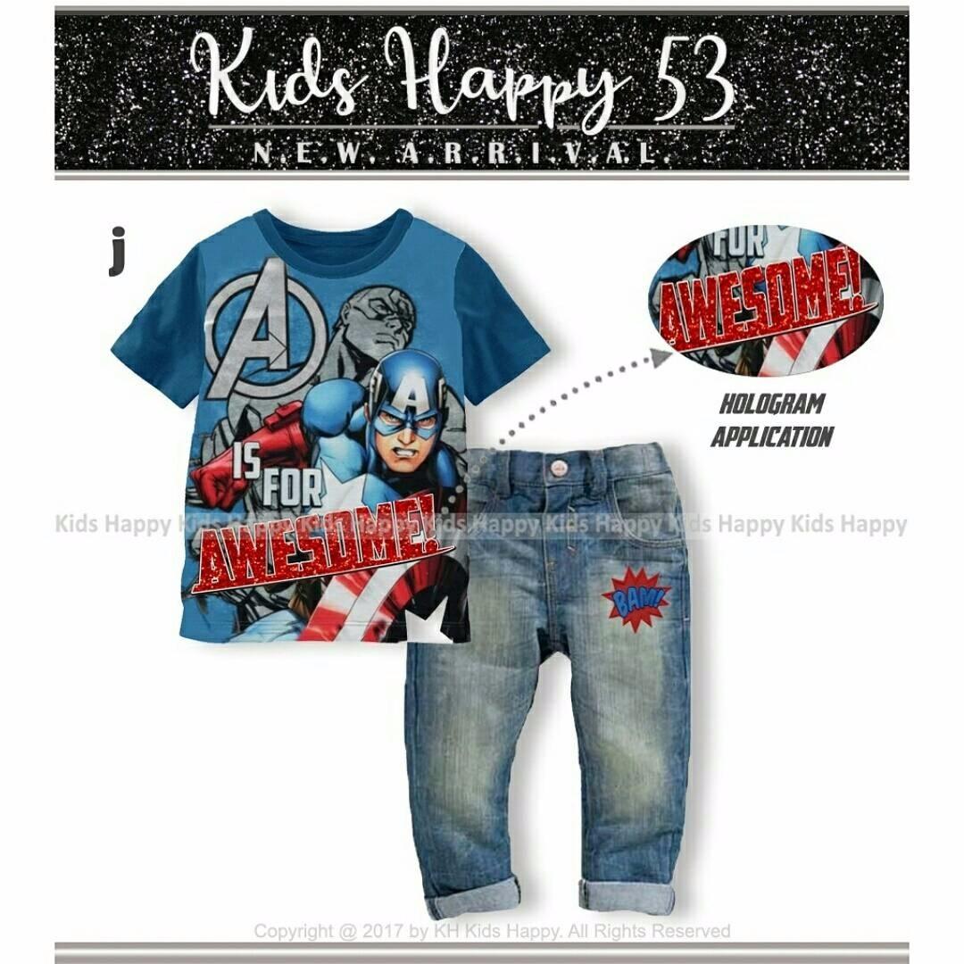 (b01440kid2) 2in1 setelan baju captain america awesome hologram biru& celana levis BAM (KIDS HAPPY)