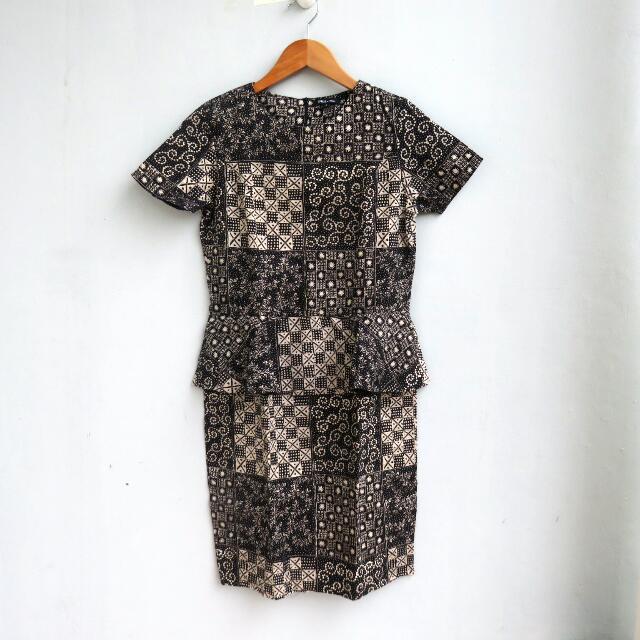 Batik Peplum Dress - NETT PRICE