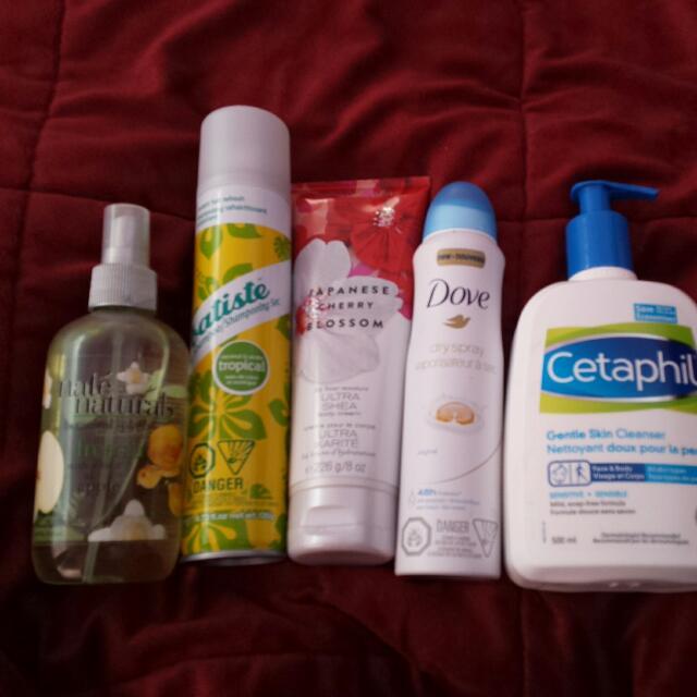 BATISTE  Dry Shampoo  CETAPHIL Gentle Skin Cleanser  DOVE Dry Spray BATH AND BODY WORK JASMINE Cherry Blossom  NATE NATURALS Botanical Splash