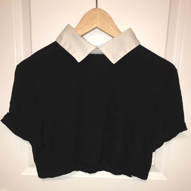 Black Crop Top with a White Collar