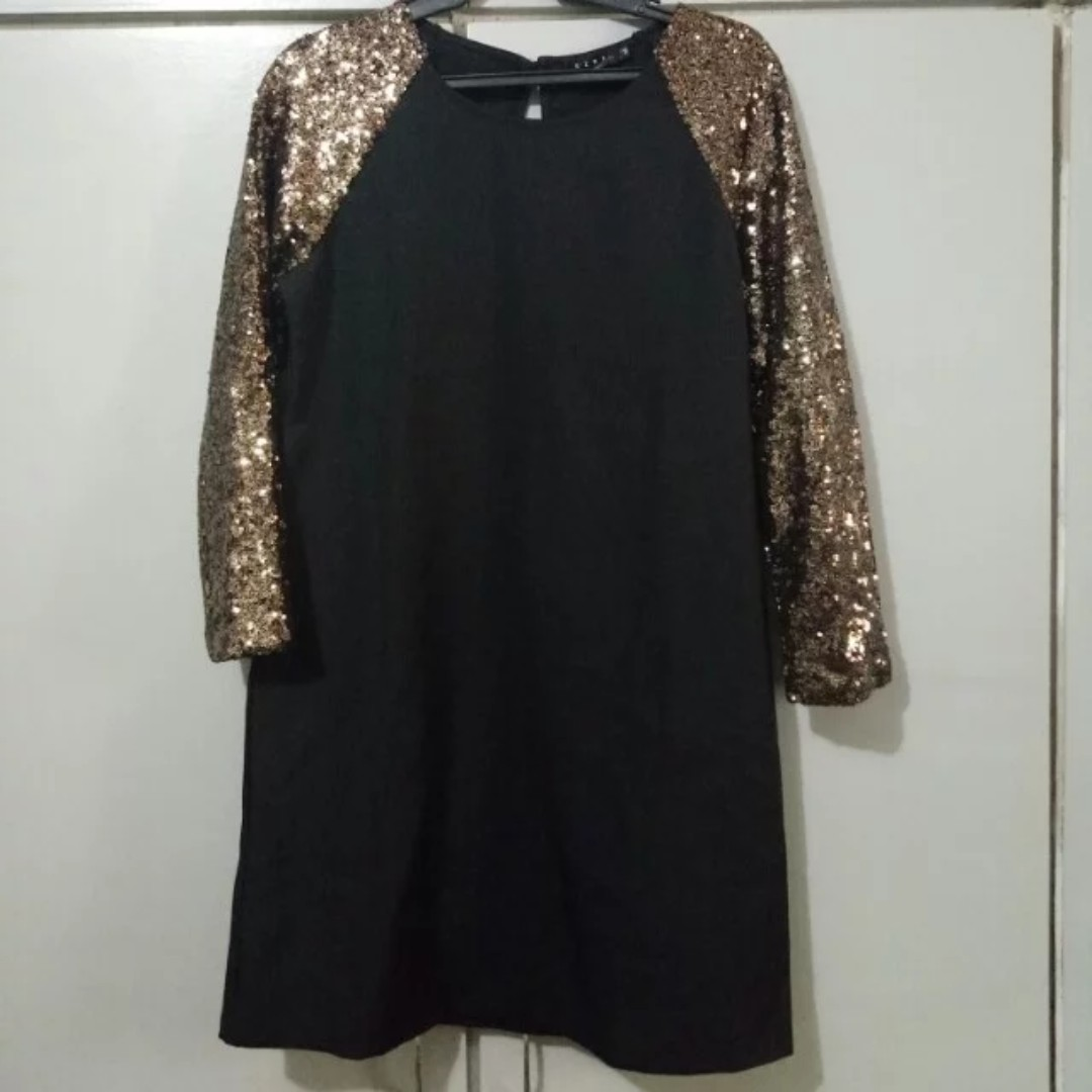 Black dress w/ sequined sleeves