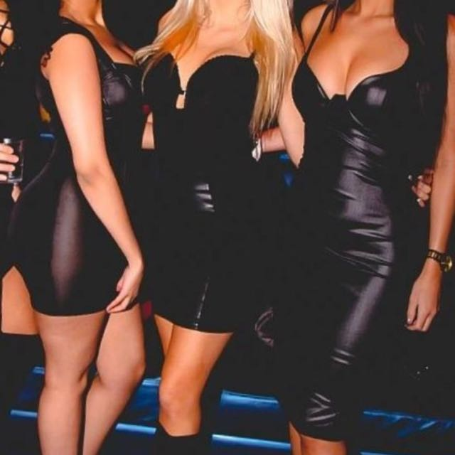 Black fake leather dress
