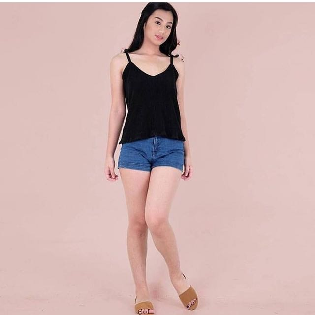 Black Pleated Cami Top