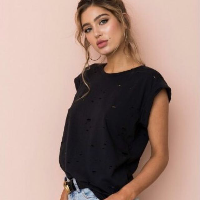 Black Ripped Top