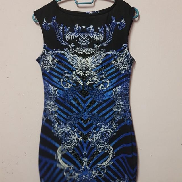 Blue black flower printed dress