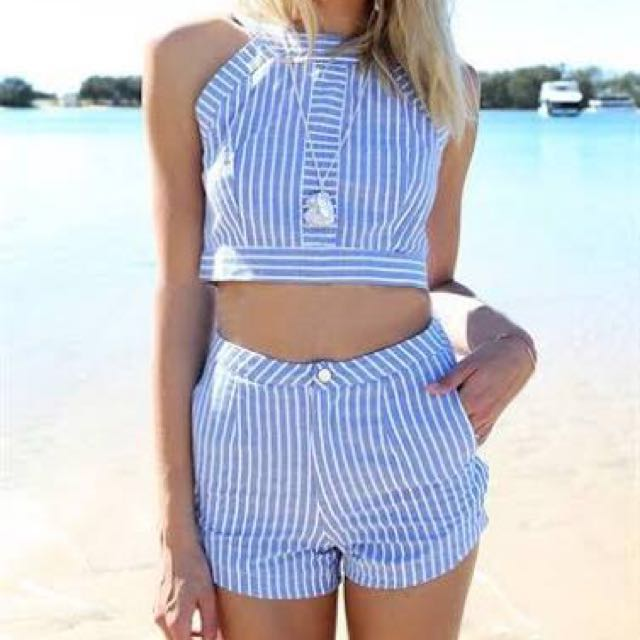 Blue&White Striped Two Piece Suit
