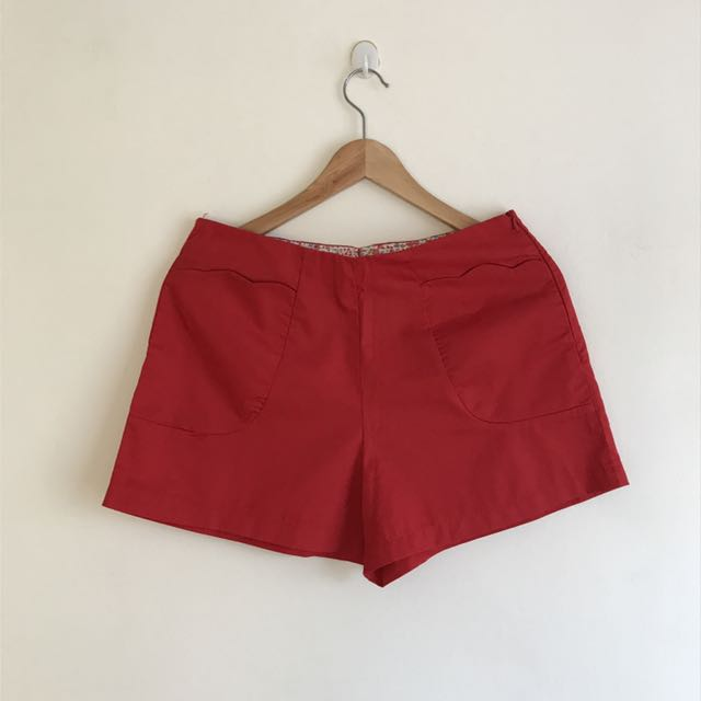 BN Red High Waist Shorts with Scallop pockets