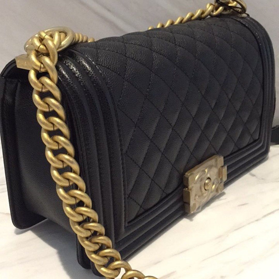 ddc93b37be12 Brand New Chanel Boy Old Medium Caviar in Black with GHW