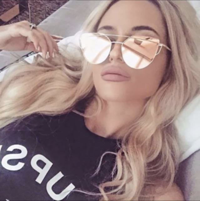 Cat eye mirrored sunglasses - rose gold pink with gold frame