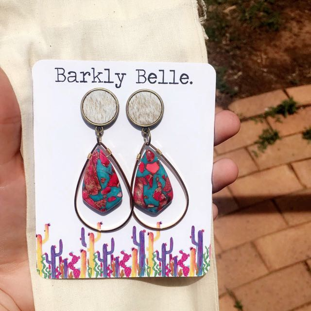 Cowgirl / boho cowhide semi precious stone earrings