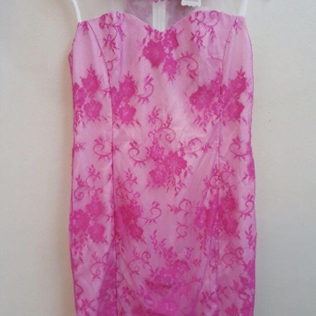 Dress pink brukat glamour