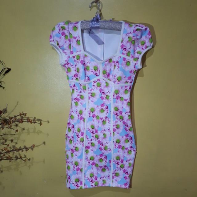 Floral spandex bodycon dress