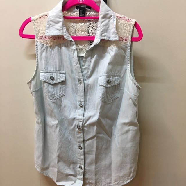 FOREVER 21 lace & denim top