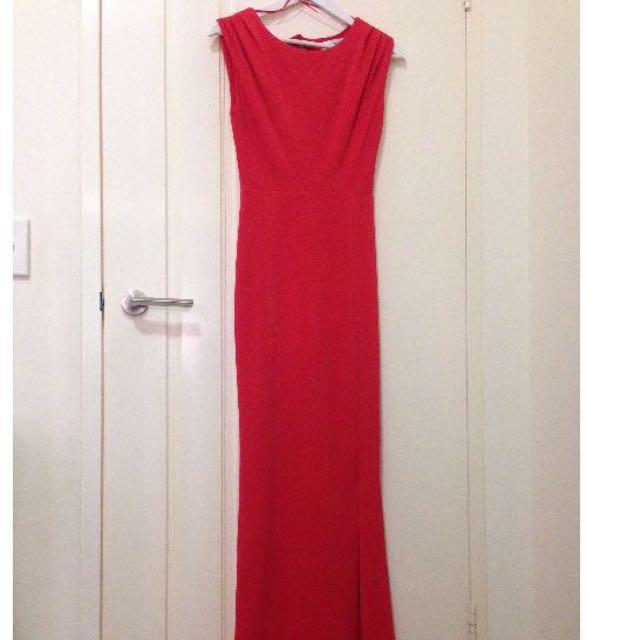 FORMAL SEXY RED ORANGE SIDE SPLIT DRESS