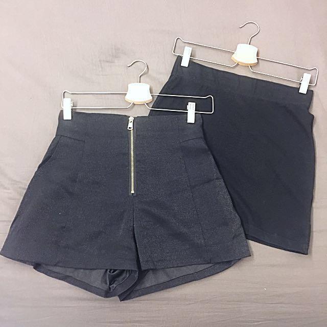 Gap黑色棉質短裙➕韓版高腰褲 #幫你省運費