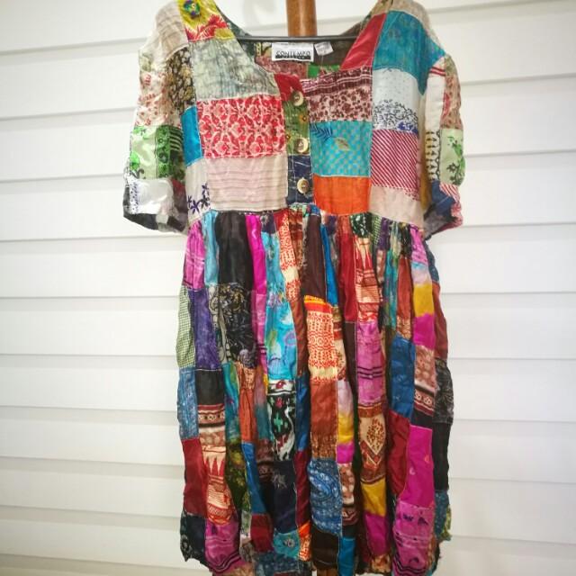 Genuine indian silk vintage patchwork hippie babydoll dress