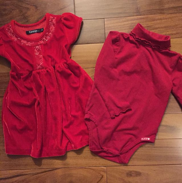 Girl's Red Holiday Dress + Turtleneck Size 2-3T