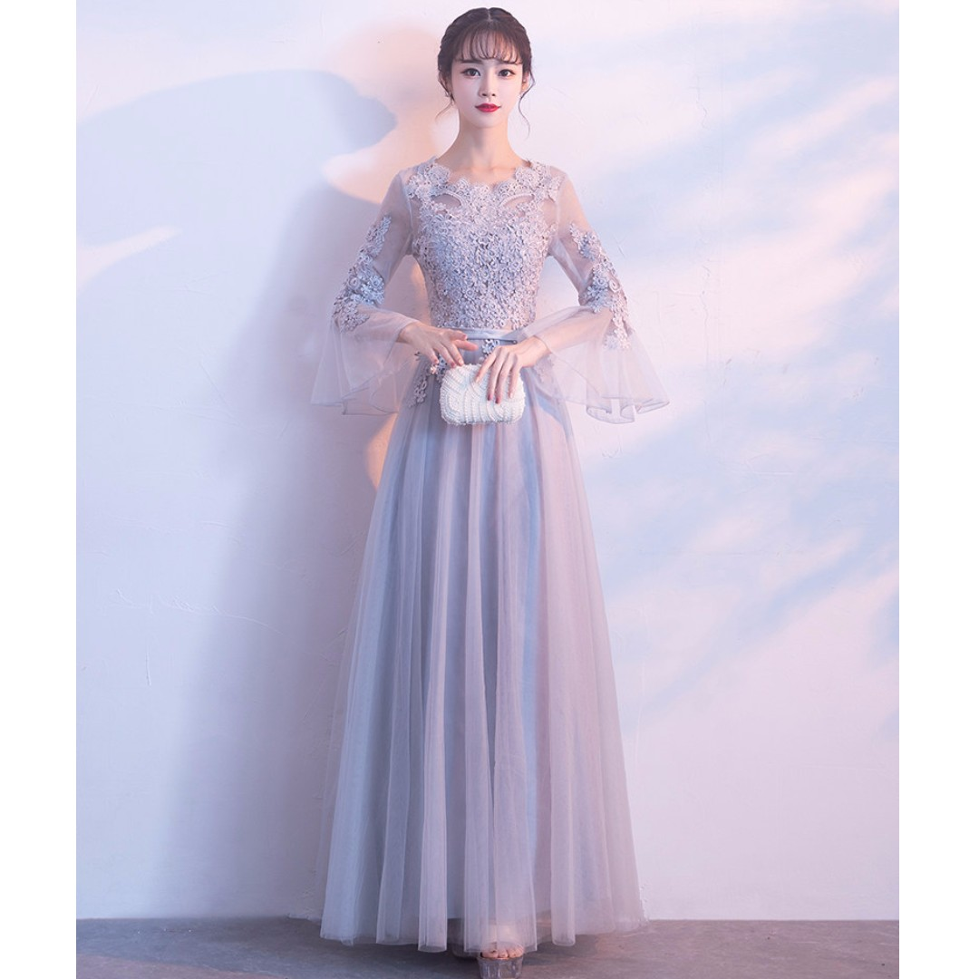 Gown Collection - Lovely Lace Sweet Sleeves Grey Gown