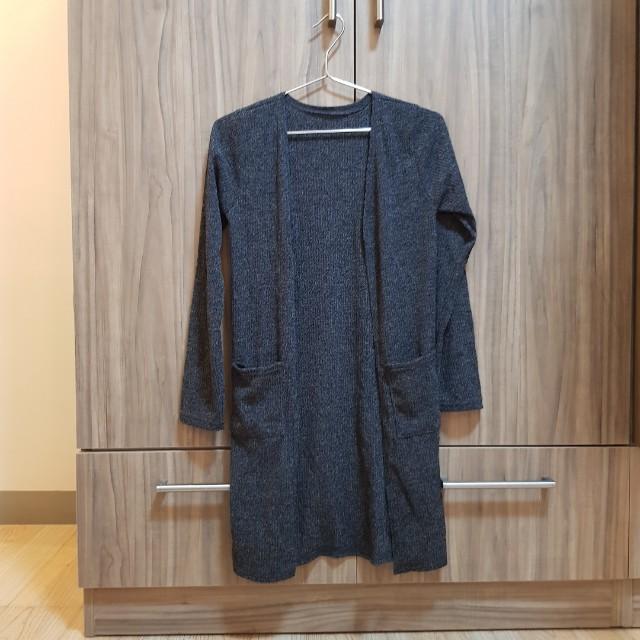 Korean gray knit cardigan