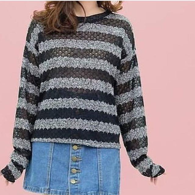 Grey Black Knit Pullover