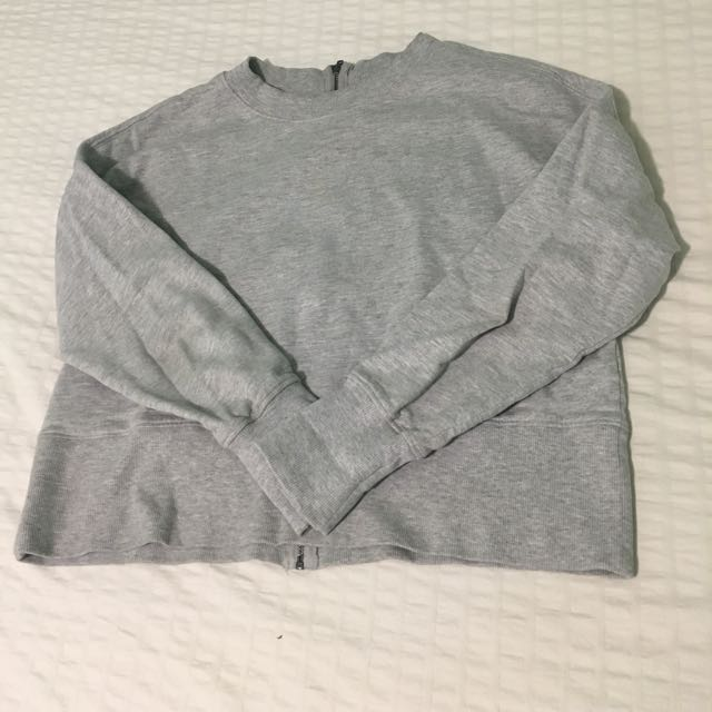 Grey Hoodie with Zipper in Back Cropped