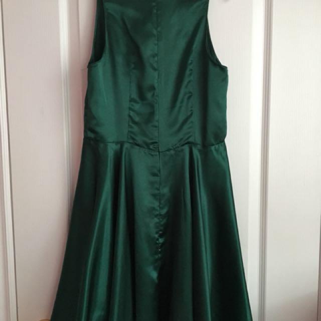 Hunter Green Handmade Silk Dress