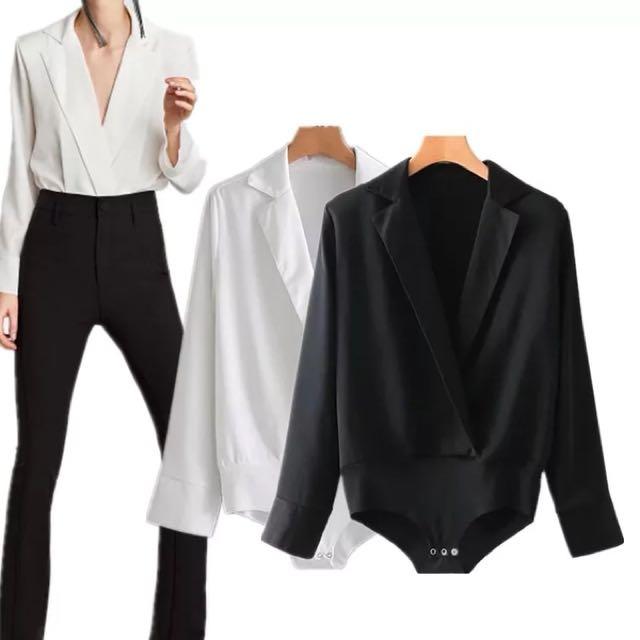 6c628edb Inspired Zara Lapel Collar Bodysuit, Women's Fashion, Clothes, Tops ...