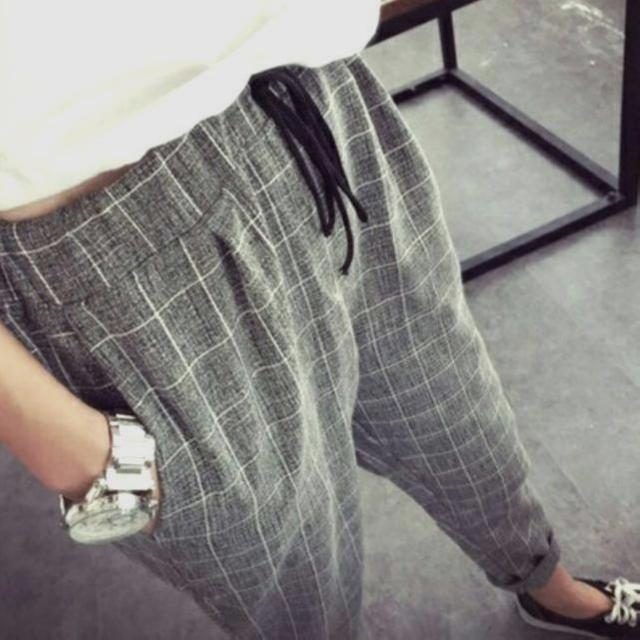 4dc8b297608 🌹🌹(M~5XL) Plus Size Grey Grid Pants Harem Loose Stylish Korean Style  Roll-up With Drawstring