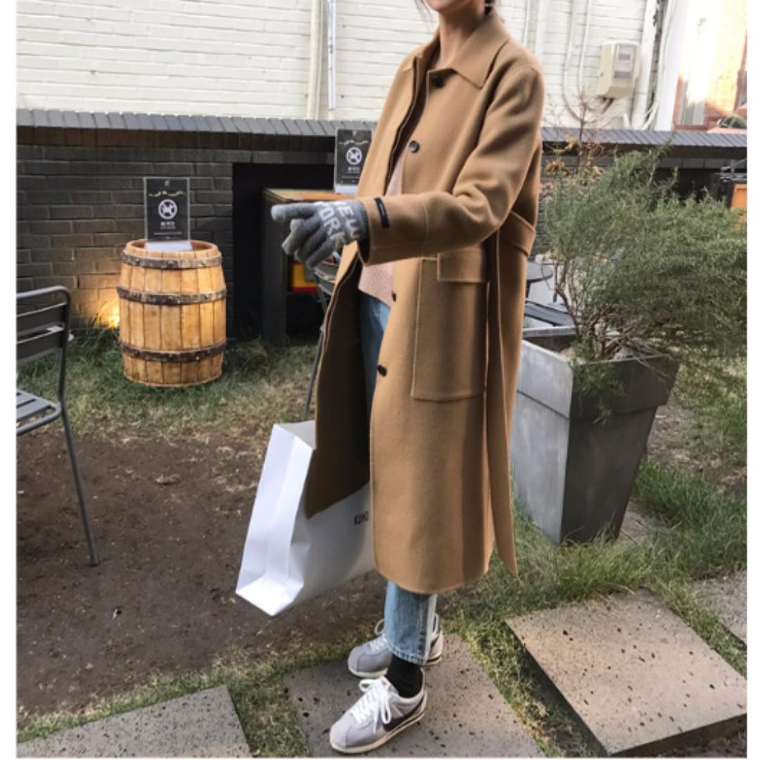 M SELECT 韓國東大門正韓駝色大衣復古氣質款雙面手縫羊毛羊絨大衣韓國進口面料經典版型推薦
