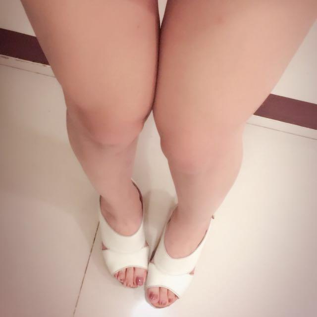 二手miss sofi💕純白歐美名媛風高根露趾涼鞋 8號