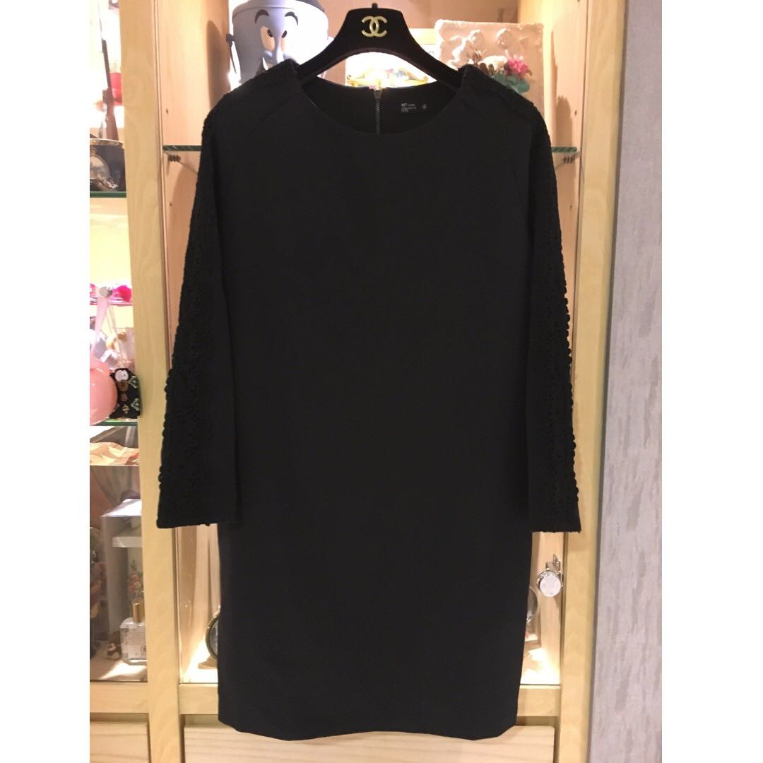 NET 秋冬款 黑色蕾絲袖洋裝