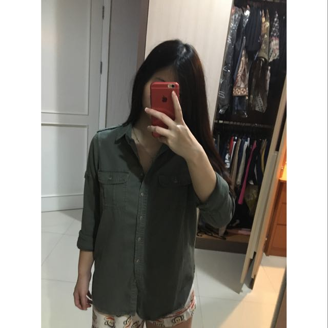 New look green washed blouse