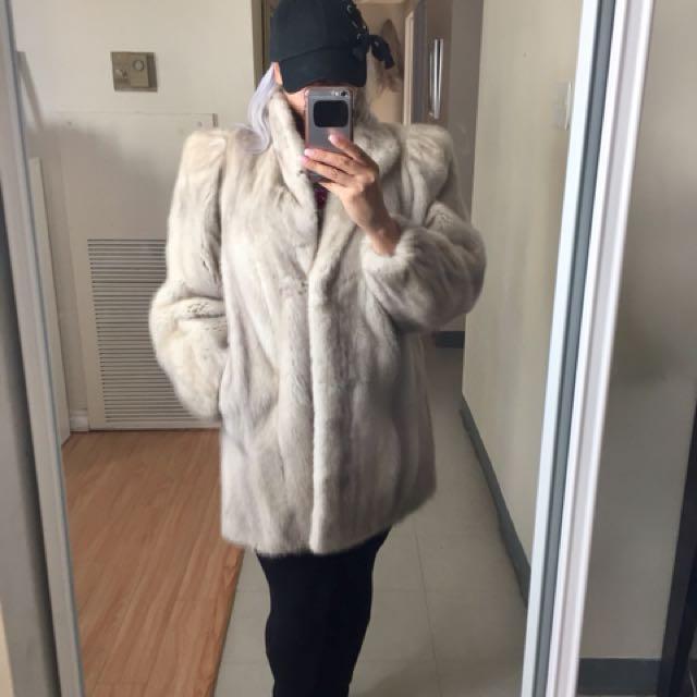 Pearl mink real fur jacket