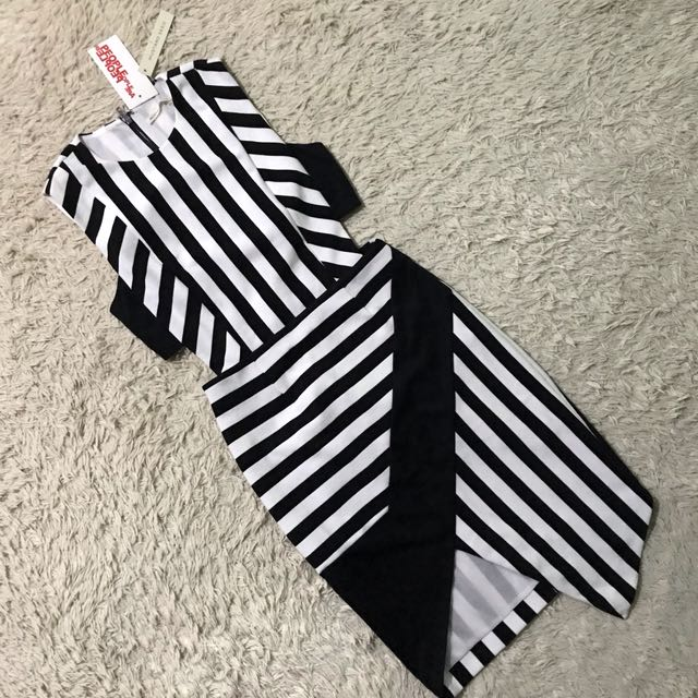 PEOPLE ARE PEOPLE MUSTARD SEED white & Black stripe Bodycon Dress