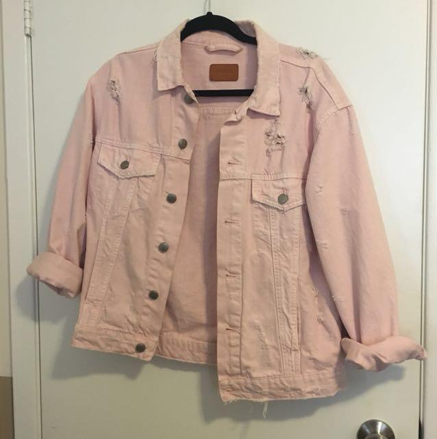 Pink Denim Oversized Distressed Jacket