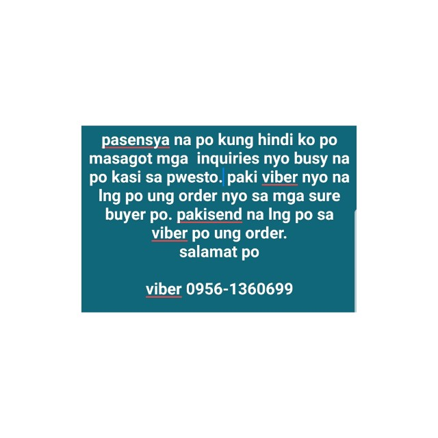 pls. viber your order!tnx
