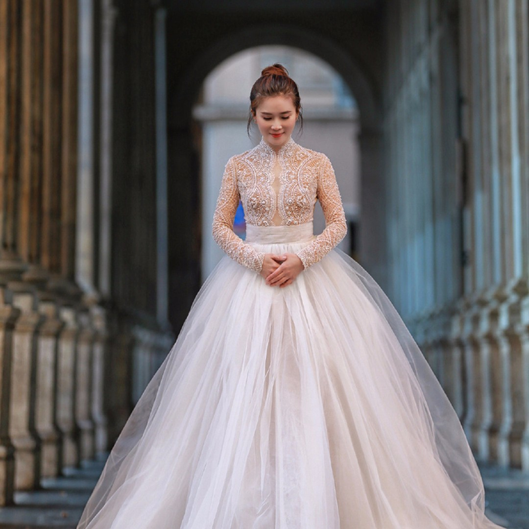 Pre order white long sleeve lace fishtail wedding bridal prom ...