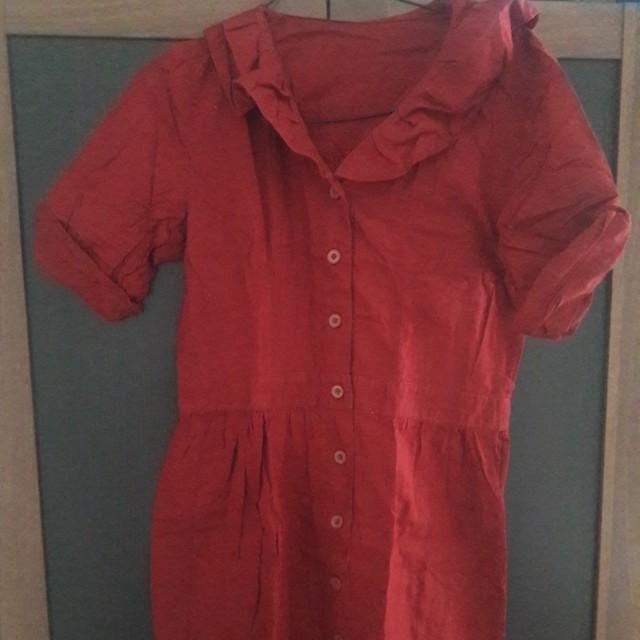 Preloved Dress Merah Berkerah Fit to L Satin