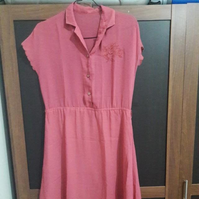 Preloved Dress Pink Chiffon Fit to L