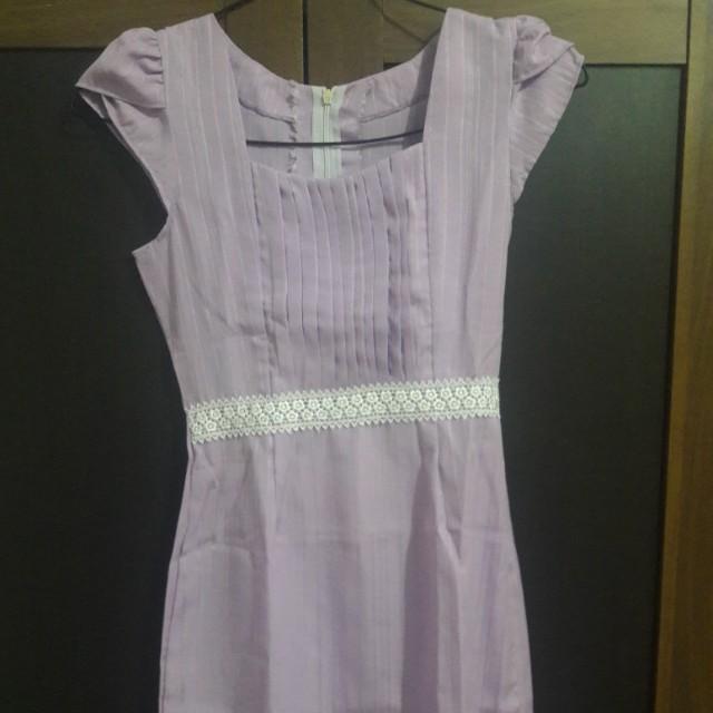 Preloved Dress Ungu Cantik Fit to L Katun Tebel