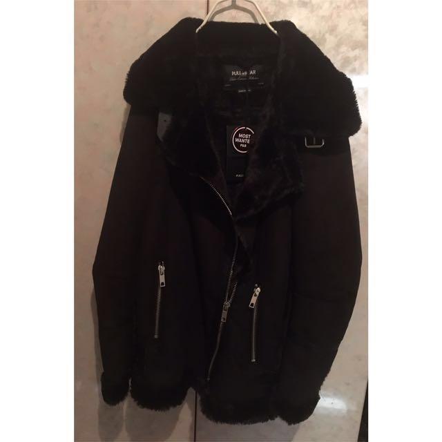 PULL&BEAR麂皮軟毛刷起外套(黑)