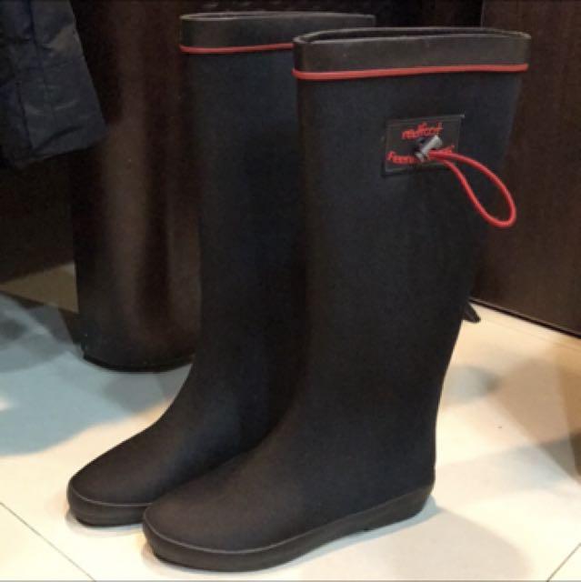英國RED FOOT 摺疊雨靴 黑色霧面 秋冬雨季的好同伴 真品
