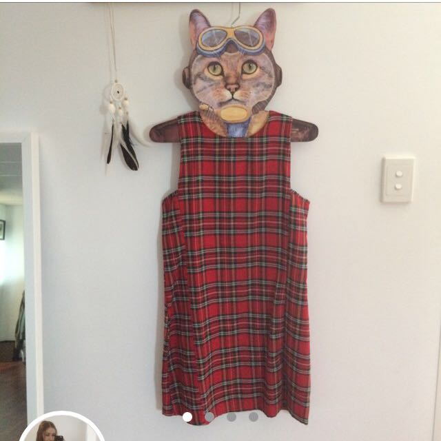 Red tartan shift dress