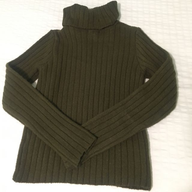 Ribbed Olive Green Turtle Neck Sweater